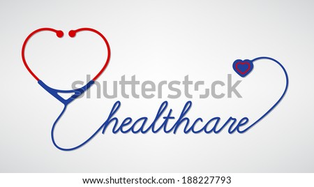 stethoscope with heart, medical symbol, vector - stock vector