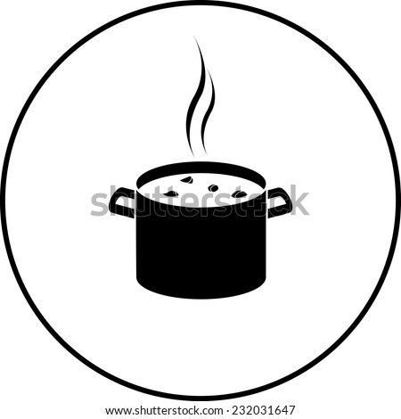 stew in stockpot symbol - stock vector