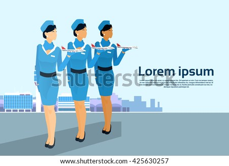 Stewardess Group Hold Aircraft Crew Over Airport Background Copy Space Flat Vector Illustration - stock vector