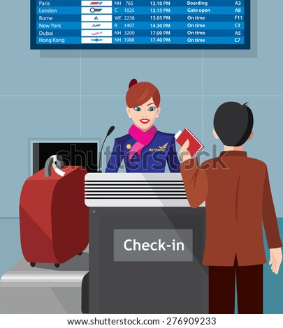 Stewardess with the passenger at the check in - flat design - vector illustration - stock vector