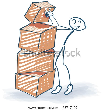 Stick figure and stacked packages - stock vector