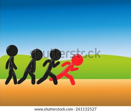 stick figure challenging position - stock vector