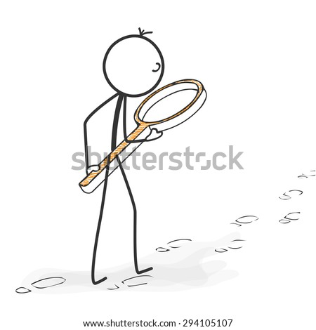 Stick Figure in Action - Stickman Followed Footprints with Magnifying Glass Icon. Stick Man Vector Drawing with White Background and Transparent, Abstract Three Colored Shadow on the Ground. - stock vector