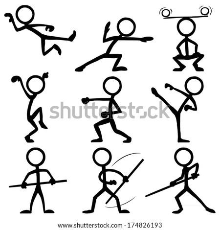 Stick Figure Kung Fu - stock vector