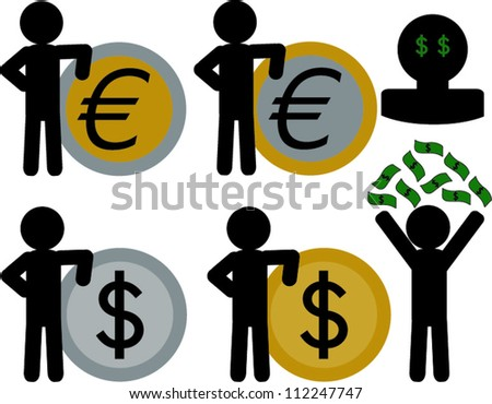 Stick figure leaning on coin and throwing money above it self - stock vector