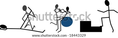 Stick Figure Physical Therapy - stock vector