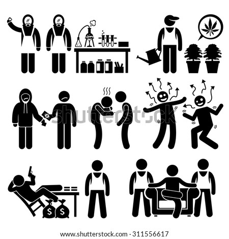 Stick Figure Pictogram Icons depicting Chemist cooking Illegal Drugs, Drug Lord, Business Syndicate, Gangster - stock vector