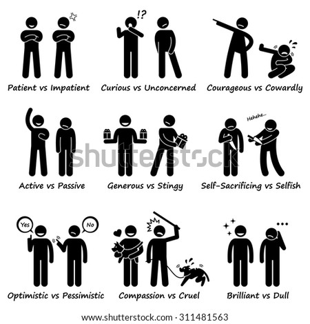 Stick Figure Pictogram Icons depicting Human Personalities, Opposite Values, Positive vs Negative - stock vector