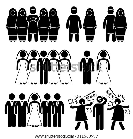 Stick Figure Pictogram Icons depicting Polygamy, Marriage, Multiple Wife Husband - stock vector
