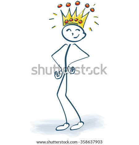 Stick figure with crown and the customer is king - stock vector