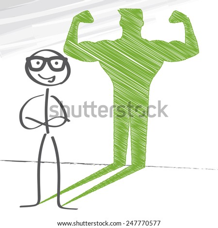 Stick figure with sketched strong and muscled arms - stock vector