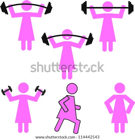 Stick figure workout - stock vector