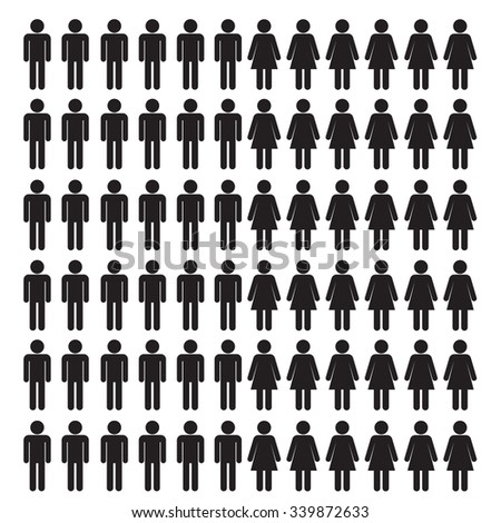 Stick Man And Woman Icon Set - Vector Illustration Stock - stock vector