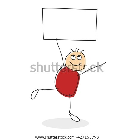 Stick man drawing with round red body standing on one leg while holding square in his string arms with empty sign with copy space - stock vector