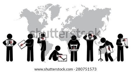 Stick man hold monitor screen :show skeleton,world map ( Worldwide Healthcare concept )( Pulmonary Tuberculosis , Arthritis , Cervical spondylosis , Lumbar spondylolisthesis , Scoliosis , Stroke ) - stock vector