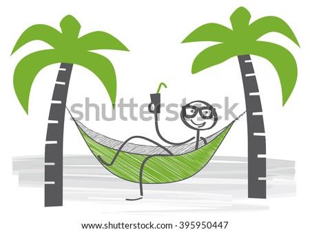 stick man swinging in a hammock   - stock vector