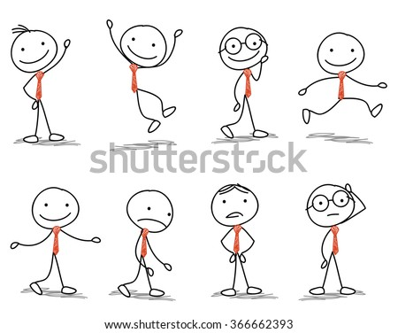 stick man with different poses of walking, jumping, thinking, running and standing - stock vector