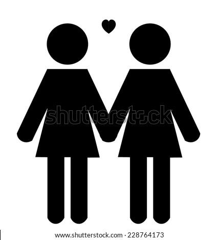 Stick woman figure holding hands - stock vector
