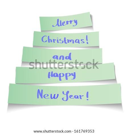 Sticker Christmas tree. Vector Illustration. - stock vector