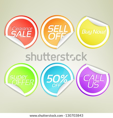 Sticker emblem round labels with bent corners and shadow, eps10 vector design element collection set - stock vector