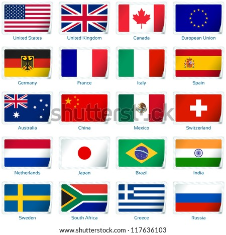 Sticker flags: Popular. Vector illustration: 3 layers:  �· shadows  �· flat flag (you can use it separately)  �· sticker. Collection of 220 world flags. Accurate colors. Easy changes. - stock vector
