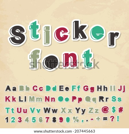Sticker font. Vector illustration.	 - stock vector