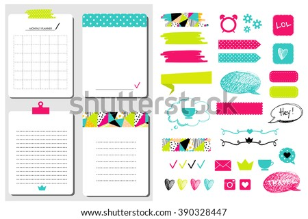 Sticker, icons, signs for organized your organizer. Monthly Planner. Template for notebooks,, scrapbooking, wrapping, wedding invitation, cards, diary. - stock vector