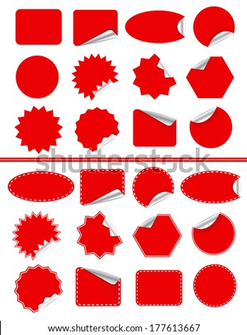 Sticker label set. Red sticky isolated on white - stock vector