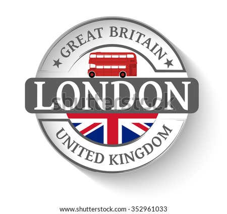 Sticker London and red london bus - stock vector