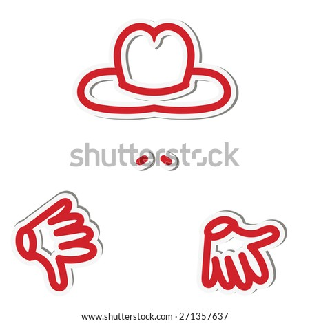 Sticker man with a finger down in a hat and with a mustache - stock vector