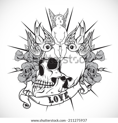 Sticker on the shirt with the angel and skull. Vector. - stock vector