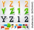 Sticker or label style alphabet - stock vector