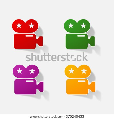 Sticker paper products realistic element design illustration video camera camcorder - stock vector