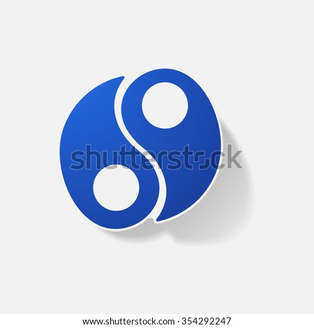 Sticker paper products realistic element design illustration Yin Yang - stock vector