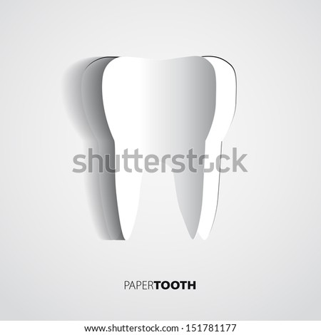 Sticker Pink paper Tooth On White Background - stock vector