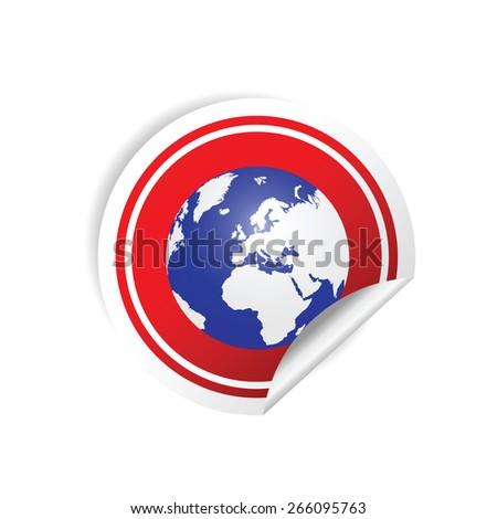 sticker planet red vector illustration - stock vector