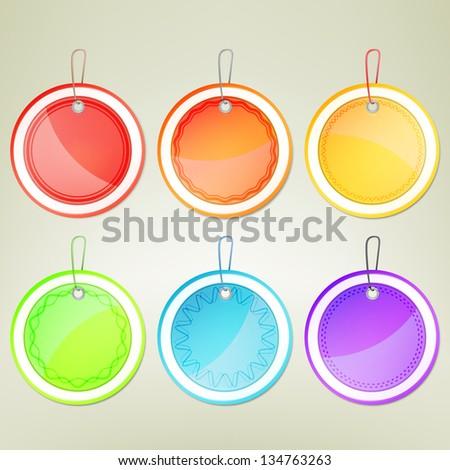 Sticker round emblem label, eps10 vector design collection element set - stock vector
