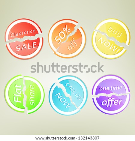 Sticker round emblem torn in two part label collection as eps10 vector design element set - stock vector