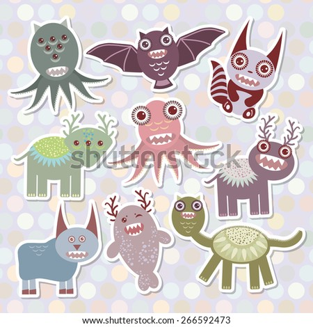 Sticker set Funny monsters collection on Polka dot background. Vector - stock vector