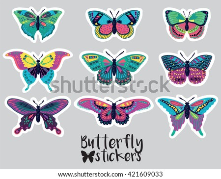 Sticker set of butterflies decorative silhouettes in cartoon style - stock vector