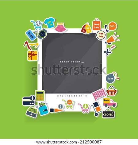 Sticker Shopping flat Icons with long shadow For Web and Mobile.Vector Design - stock vector