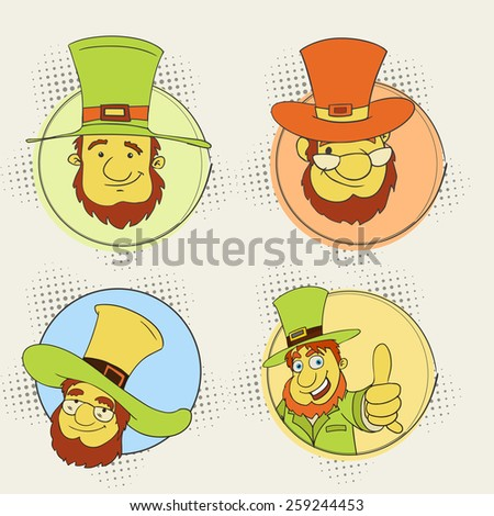 Sticker, tag or label design with leprechaun in hat for Happy St. Patrick's Day celebration. - stock vector