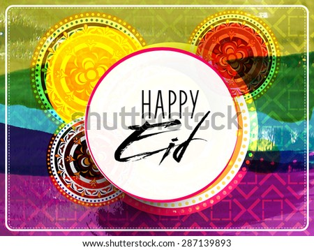 Sticker, tag or label with text Eid Mubarak on colorful creative background for muslim community festival celebration. - stock vector