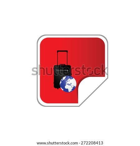 sticker with bag and globe red vector - stock vector