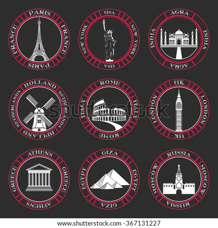 Stickers and icons of travel. Vector illustration isolated famous scenic attractions and places of world. - stock vector