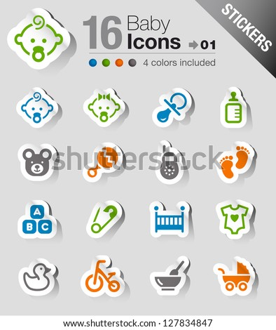 Stickers - Baby icons - stock vector
