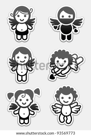 Stickers cupids. set icons, collection angels signs - stock vector