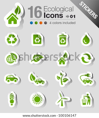 Stickers - Ecological Icons - stock vector