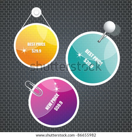 Stickers for  web page or sale - stock vector