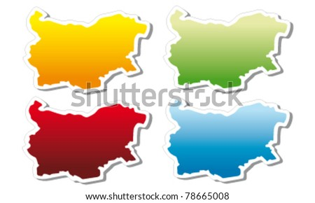 stickers in form of Bulgaria - stock vector